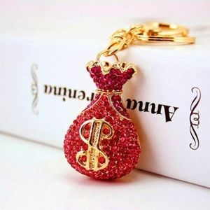 Gold Tone Pink Crystal Money Keychain & Purse Tag